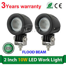 2x 2inch 10W Flood CREE LED Light Offroad Round Work Lamp For Truck 4WD ATV 4X4