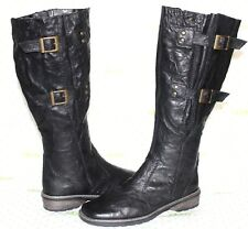 ✿ REMONTE DORNDORF Black Crinkled Leather Zip Tall Boots 7 37 GREAT! L@@K!34