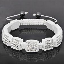 Unisex Bling Shamballa Bracelet - SQUARE blanc