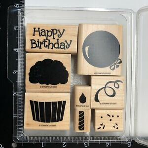 Stampin Up Happy Birthday Wood Rubber Stamp Set 1997 Cupcake Balloon Candle