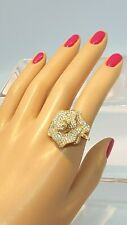 Vintage Cubic Zirconia Flower Shape Solid 10k Yellow Gold Ring