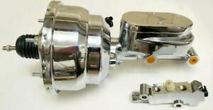 "7"" Dual Chrome Power Booster with Flat Top Master Cylinder Disc Drum Prop Valve"