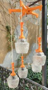 Orange glass shade pendant lights retro mid century vintage industrial space age