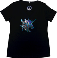 Unicorn horse Bling Shirt Sequins V-Neck Top No Rhinestones glitter sparkly