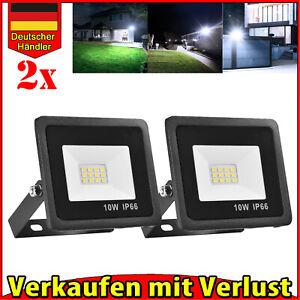 2x 10W LED Fluter Außen Strahler Flutlicht Außenleuchte Scheinwerfer 220V IP66