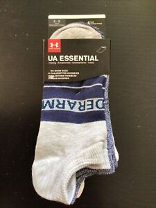New Womens Under Armour 6 Pairs Blue Grey No Show Socks 6-9
