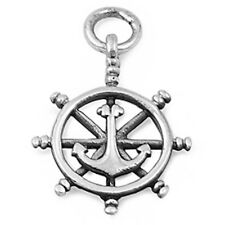 WHEEL HELM w/ ANCHOR NAUTICAL .925 Sterling Silver Pendant