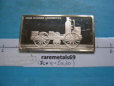 1.9 OZ LOCOMOTIVE JOHN STEVENS 1825 SILVER ART BAR RARE COOL