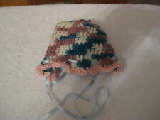 Beautiful Handmade Very Soft Multi Color Crochet Baby Hat with Ribbon NEW
