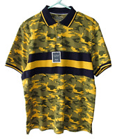 Club Room Size M Pique Stretch Blue and Yellow Camouflage Striped Polo Shirt
