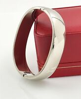 Estate Unisex .925 Sterling Silver Modernist Hinged Bangle Bracelet, 75 Grams!