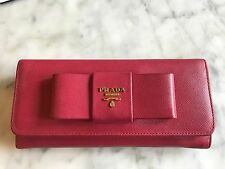 Prada Saffiano Fiocco Wallet in Hot Pink Peonia