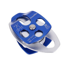 32KN Double Pulley for Hauling System Climbing Caving   Dragging Blue