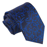 Black Blue Mens Classic Tie Woven Swirl Patterned FREE Pocket Square by DQT