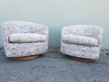 PAIR OF 1970'S  FAT TUB LOUNGE CHAIRS W CIRCULAR WOOD BASES