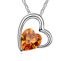 Fashion Womens Heart Amber Crystal Rhinestone Silver Chain Pendant Necklace ---