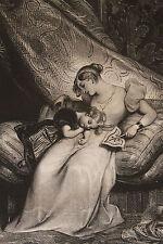 """Lithographie originale 1829 Achille Devéria """"Attention maternelle"""" Romantisme"""