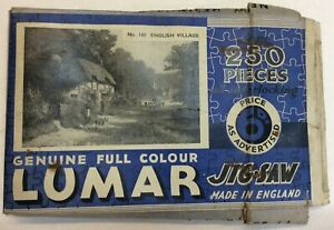 Complete Lumar Jigsaw Picture Puzzle ENGLISH VILLAGE No 143 1930's Vintage Gift