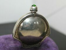 RARE ART NOUVEAU VTG Sterling 925 Emerald Green Cabochon Perfume Scent BOTTLE