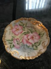 """Beautiful Vintage Limoges Salt Trinket Pin Dish 4"""" Signed Andrews"""