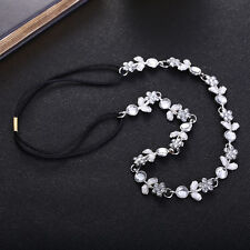 Lady Women Silver Plated Crystal Rhinestone Flower Elastic Hair Band Headband