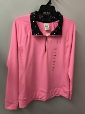 Victoria's Secret L XL Dri Fit PINK 1/2 Zip NWT Ultimate Yoga Sweatshirt Top