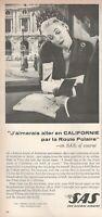 1962 Original Advertising' SAS Scandinavian Airlines Company Aerial California