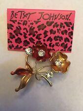 Betsey Johnson Crystal Enamel beautiful flower Charm Women's Brooch Pin-BJ10685