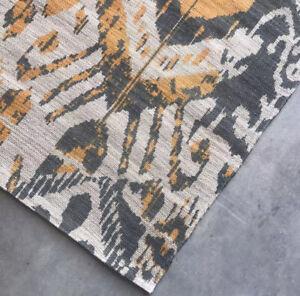 Pottery Barn Jute Area Rug Ikat Print Natural Fiber Runner Gray Multi 2.6 x 9