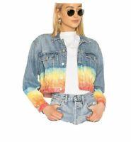 Blank NYC Tye Dye Cropped Denim Jacket Size M $138