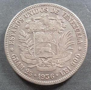 Venezuela - Bolivar, Silver Gram 25, 1936, toned