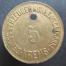 Old rare Austria token- Krems - 5 -Siphon Einsatz 20 h- 17408.1 -mehr am ebay.pl