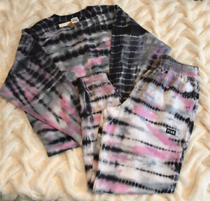 Victoria's Secret PINK Bamboo Tie Dye Set Jogger & Pullover Sz Small New