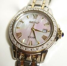Seiko Women's SUT170 Diamond-Accented Two-Tone Watch w/ Mother of Pearl Dial