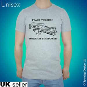 Aliens T-shirt Peace Through Superior Firepower Tshirt Ripley Hicks Xenomorph T