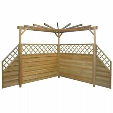 Garden Pergola Wooden Side Fence Panels Wood Outdoor Seating Bardecue BBQ Area