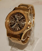 King master men watch  gold finished metal band  with 12 diamonds fashion