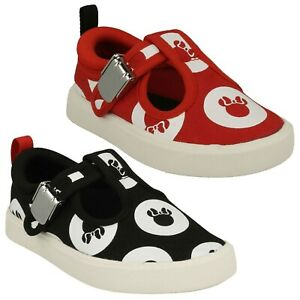 GIRLS CLARKS CITY POLKA TODDLER CLASP INFANT PUMP MINNIE MOUSE CANVAS SHOES SIZE