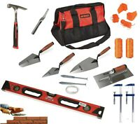 BRICKLAYERS TOOLS Plastering Trowels, Brick Hammer, Line pins F clamps 100m line