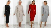 New Women's Ladies Cable Knit Long Sleeve Pocket Tie Up Maxi Midi Jumper Dress