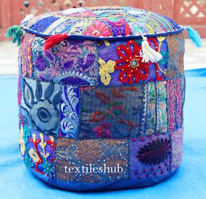 Indian Handmade Bohemian Blue Pouf Cover Ottoman Stool Floor Chair Pouffe Cover