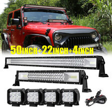 "Tri Row 50"" 2808W+22"" 1296W LED Light Bar+4"" 18W Pods for Jeep Wrangler JK TJ YJ"