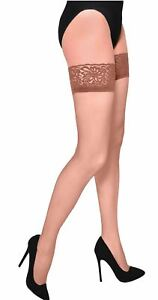 20 Denier Sheer Delicate Lace Thigh High Socks Stockings Silicon Bands Hosiery
