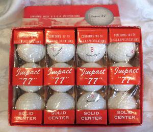 "Vintage Box Impact ""77"" Solid Center Golf Balls NOS"