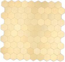 Selbstklebendes Metallmosaik Mosaikfliesen Aluminium Gold Hexagon | 10 Matten