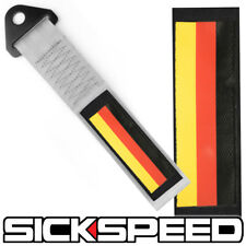GREY GERMAN FLAG HIGH STRENGTH RACING TOW STRAP FRONT REAR TOW HOOK GRAY