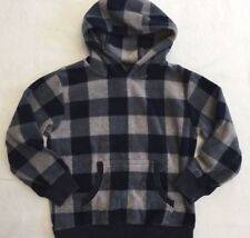 Boys Navy And Gray Large Check Fleece Hooded Sweatshirt By Gymboree Sz 5/6 GUC