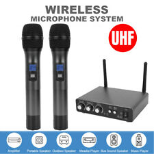 UHF Wireless Microphone System 2 Handheld Mic Bluetooth Bass Karaoke Audio AU