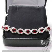 28.74 Ct Red Ruby Diamond Halo Tennis Bracelet Wedding Anniversary Jewelry Gift