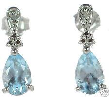 & Diamond Accent Teardrop Earrings ' Solid 925 Sterling Silver Blue Topaz